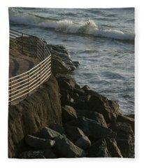 Ocean Beach Boat Ramp Fleece Blanket