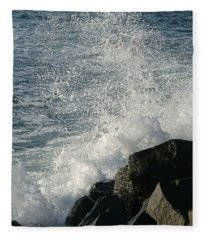 Ocean Beach Splash 1 Fleece Blanket