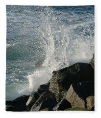 Ocean Beach Splash 2 Fleece Blanket