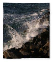 Ocean Beach Splash 3 Fleece Blanket