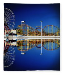 Ocean City Amusement Pier Reflections Fleece Blanket