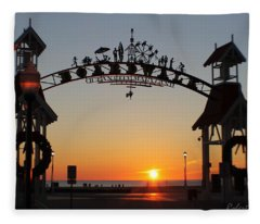 Ocean City Boardwalk Arch New Year Sunrise Fleece Blanket