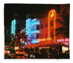Ocean Drive Film Image Fleece Blanket