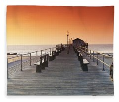 Ocean Grove Jetty In Nj Fleece Blanket