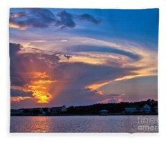 Ocean Isle Sunset Fleece Blanket