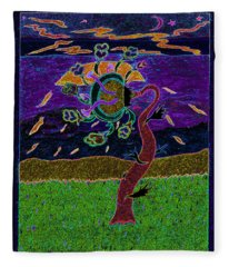 Ocean Side Flower At Sun Set    V3 Fleece Blanket