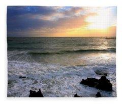 Ocean Sunset 84 Fleece Blanket