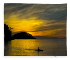 Ocean Sunset At Rosario Strait Fleece Blanket