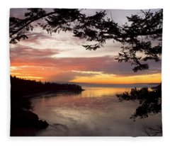 Ocean Sunset Deception Pass Fleece Blanket