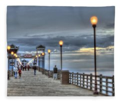 Oceanside Pier At Sunset Fleece Blanket