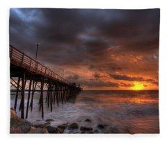 Oceanside Pier Perfect Sunset Fleece Blanket
