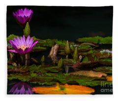 October Lilies 2 Fleece Blanket