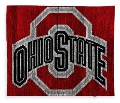 Ohio State University On Worn Wood Fleece Blanket