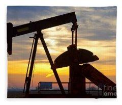 Oil Pump Sunrise Fleece Blanket