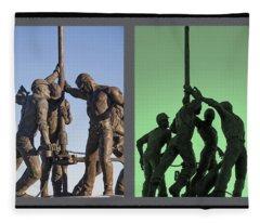 Oil Rig Workers Diptych Fleece Blanket