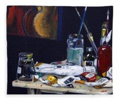 Oils Still Life Fleece Blanket