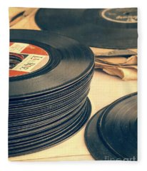 Fleece Blanket featuring the photograph Old 45s by Edward Fielding