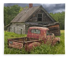 Old Abandoned Homestead And Truck Fleece Blanket