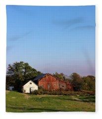 Old Barn At Sunset Fleece Blanket