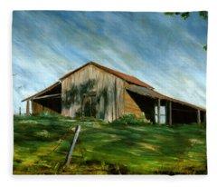 Old Barn Landscape Art Pleasant Hill Louisiana  Fleece Blanket