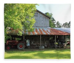 Old Barn With Red Tractor Fleece Blanket