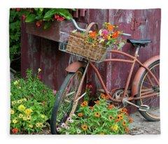 Old Bicycle With Flower Basket Next Fleece Blanket
