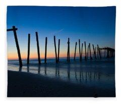 Old Broken 59th Street Pier Fleece Blanket