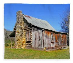 Old Cabin Along Macedonia Church Road Fleece Blanket