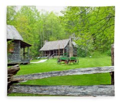 Old Cabins At The Cradle Of Forestry Fleece Blanket