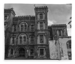 Old City Jail In Black And White Fleece Blanket