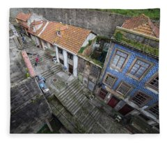 Old City Of Porto In Portugal From Above Fleece Blanket