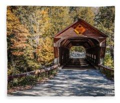 Old Covered Bridge Vermont Fleece Blanket