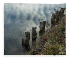 Old Dock Supports Along The Canal Bank - No 1 Fleece Blanket