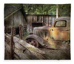 Old Farm Pickup Truck Fleece Blanket