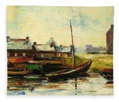 Old Fisherman's Village Fleece Blanket