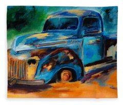 Old Ford In The Back Of The Field Fleece Blanket