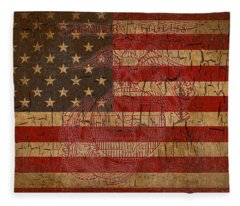 Old Glory And The Marine Corps Fleece Blanket