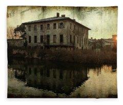 Old House On Canal Fleece Blanket