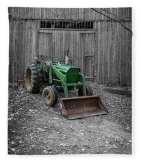 Old Tractor By The Barn Etna New Hampshire Fleece Blanket