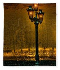 Old Lima Street Lamp Fleece Blanket