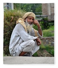 Old Man Carrying Fodder Swat Valley Kpk Pakistan Fleece Blanket