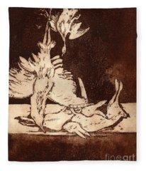 Old Masters Still Life - With Great Bittern Duck Rabbit - Nature Morte - Natura Morta - Still Life Fleece Blanket