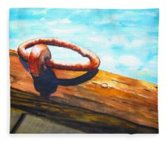Old Mooring Ring On Wood Dock Fleece Blanket