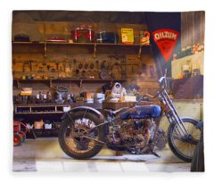 Old Motorcycle Shop 2 Fleece Blanket