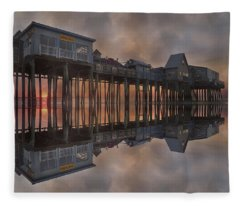 Old Orchard Pier Reflection Fleece Blanket