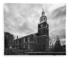 Old Otterbein Church In Black And White Fleece Blanket