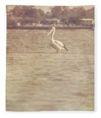 Old Pelican Photograph Fleece Blanket