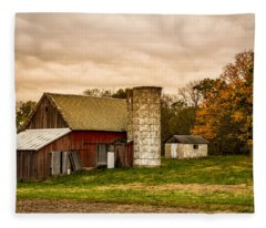 Old Red Barn And Silo Fleece Blanket