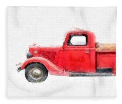 Old Red Ford Pickup Fleece Blanket