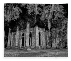 Old Sheldon Church At Night Fleece Blanket